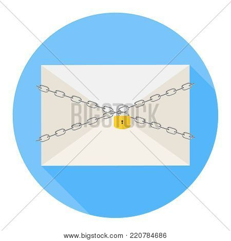 The letter is under protection. A chain with a lock protects the letter from opening. The concept of mail security. Flat design, vector illustration, vector.