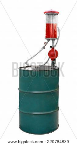 Petrol Pump Or Oil Barrel, Hand Pump, Glass Tube And Red Petrol Isolated On White Background. Vintag