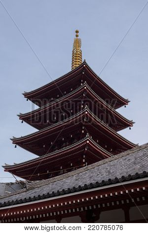 Colorful exterior of the Senso-ji temple buildings and pagoda in Asakusa, Tokyo, Japan