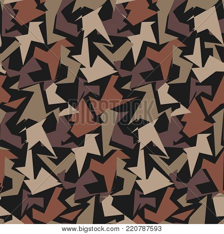 Abstract Military Camouflage Background. Pattern of Camo Geometric Triangles Shapes for Army Clothing.
