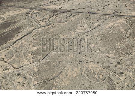 Aerial view Nazca desert near Pan American Highway, South America