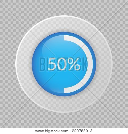 50 percent pie chart on transparent background. Percentage vector infographics. Circle diagram isolated. Business illustration icon for marketing project, finance, financial report, web design