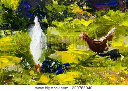 white chicken on green grass painting background vector illustration abstract. with palette knife texture fragment Oil on canvas large macro sketch, watercolor