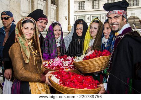 CAGLIARI, ITALY - MAY 1, 2013: 357 Religious Procession of Sant'Efisio, parade of traditional Sardinian costumes - Sardinia