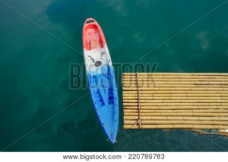 Kayak in the river, Colorful kayaks on the tropical beach
