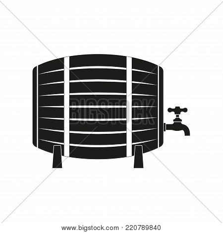 Barrel icon with tap. Beer or wine barrel. Vector illustration.