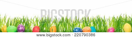 Panorama, Three Colorful Painted Easter Eggs On Green Grass