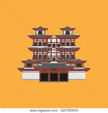 Flat building of Republic of Singapore, travel icon landmark. City architecture. World Asian travel vacation sightseeing. Buddha Toothe Relic Temple in Chinatown in Singapore.