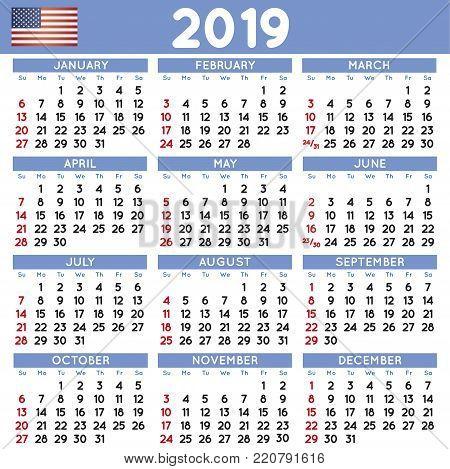 Year 2019 Squared Calendar Spanish Week Starts On Monday