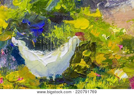white chicken on green grass painting background vector illustration abstract. palette knife texture fragment Oil on canvas large macro sketch, watercolor