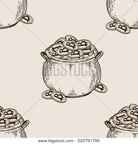 Pot full of bitcoin coins engraving seamless pattern vector illustration. Brown aged background. Scratch board style imitation. Hand drawn image.