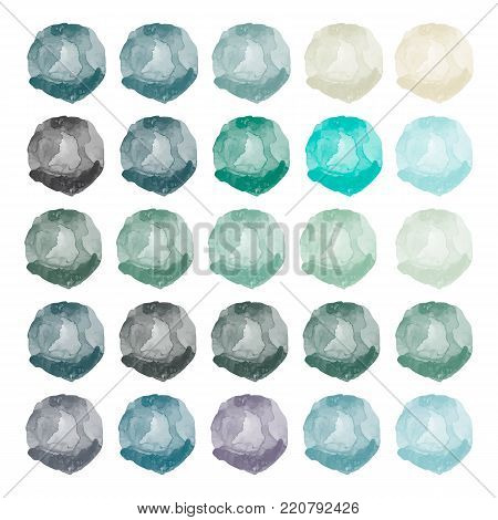 Watercolors blue, gray, green, purple blobs. Set of colorful watercolor hand painted circle isolated on white.