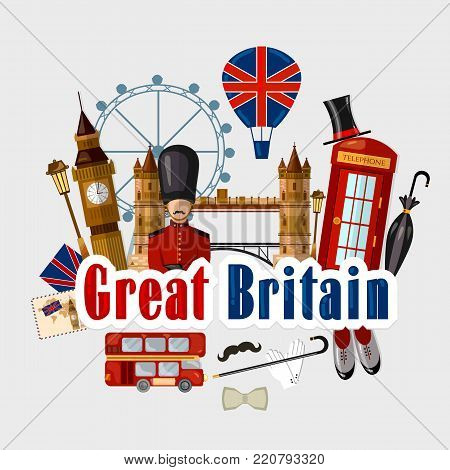 Travel to Great Britain. Traditions and culture, Welcome to England. Collection of symbolic elements. Template travel background