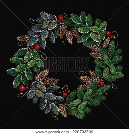 Christmas wreath from fir tree branches, vector art xmas festive background. Embroidery christmas tree wreath. Clothes, t-shirt design textile design template