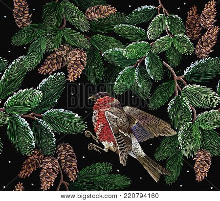 Merry Christmas classical embroidery snow-covered branch of a fir-tree. Bullfinch on winter background. Christmas art pattern. Embroidery red bullfinch and fir-tree branch with cones