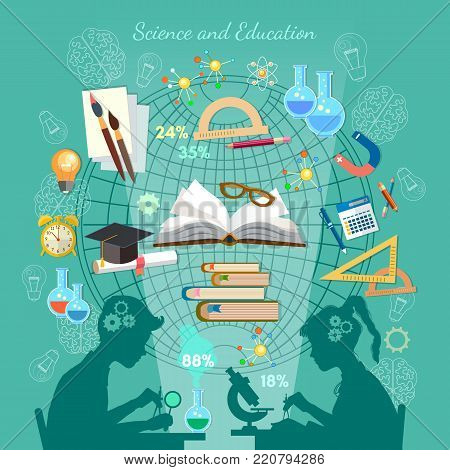 Education infographic. Open book of knowledge school background effective modern education template design. Silhouette of boy and girl. Children study