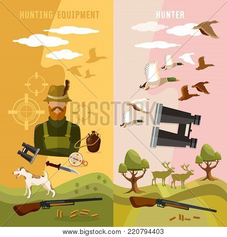 Hunting sport banners, hunter with rifle and dog in forest, duck hunting ammunition