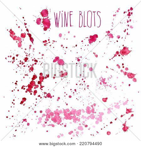 Wine splashes - vector watercolor illustration. Wine splash isolated on white background, red hand draw wine splashes and spray