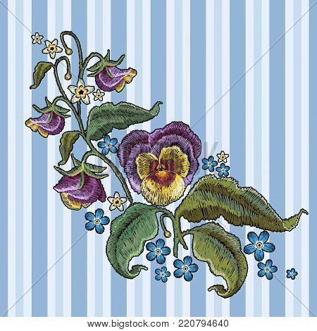 Classical embroidery beautiful flowers of violet on blue stripes background. Violets flower embroidery. Fashionable design of clothes, t-shirt design