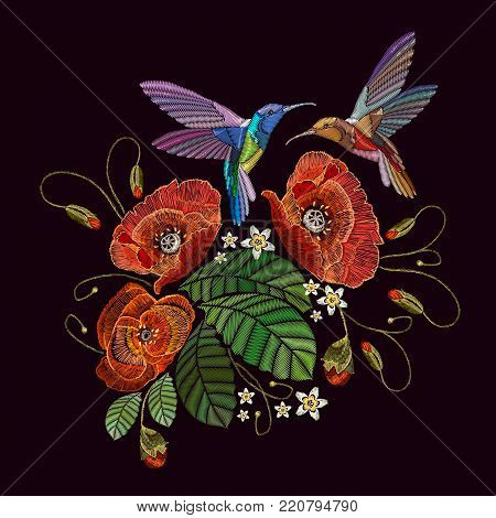 Two humming birds and red poppies, embroidery on black background. Beautiful bouquet and tropical humming bird vector. Decorative floral poppies embroidery