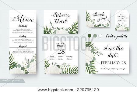 Wedding cards floral design. Rsvp, menu, table number thank you, save the date guest card & label set. White garden rose peony flower, forest fern, green palm leaf, eucalyptus branch, greenery bouquet