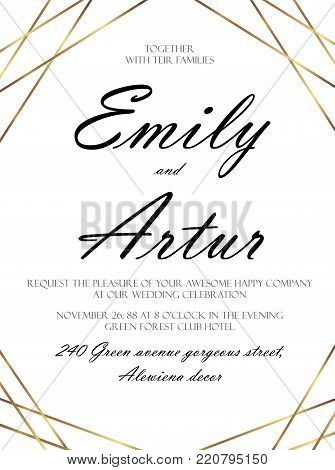 Wedding invite, invitation save the date card delicate design witn vector  golden foil simple graphic stripes, lines. Vintage art decorative geometrical border, frame. Elegant, lovely luxury template