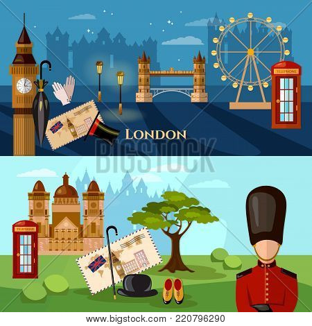 London City Skyline banner. United Kingdom buildings royal guards london attraction. Welcome to Britain