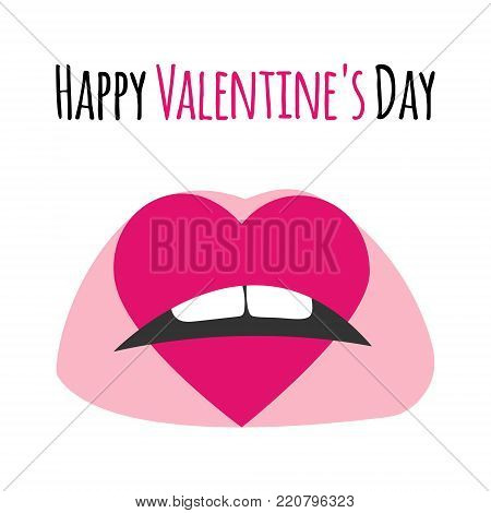 Pink Lips With Print Of Heart. Happy Valentine's Day Lettering Text Card, Background, Banner. Pink K