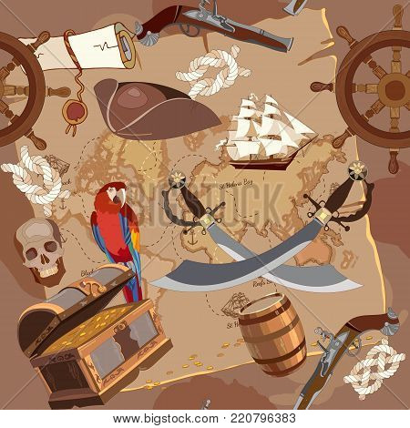Old pirate treasure map seamless pattern. Adventure stories seamless background. Treasure chest parrot steering wheel skull rum saber pirate hat and ship vector