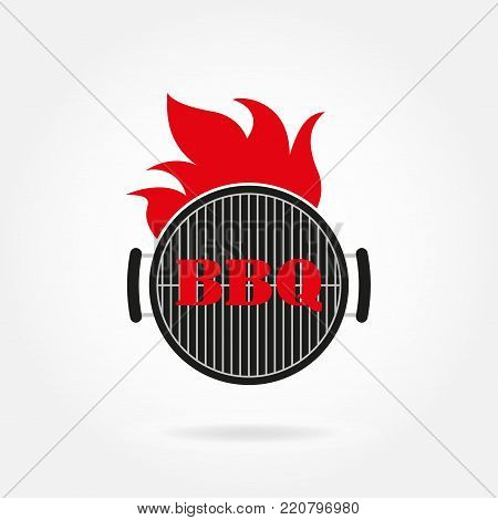 BBQ and grill icon or label. Grill and barbecue design template with fire flame. Vector illustration.
