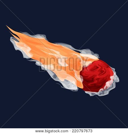 Asteroids or comet vector cartoon illustration for games, posters, designers