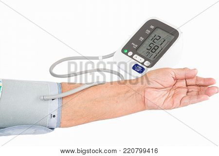 elderly woman Checking blood pressure .health concept