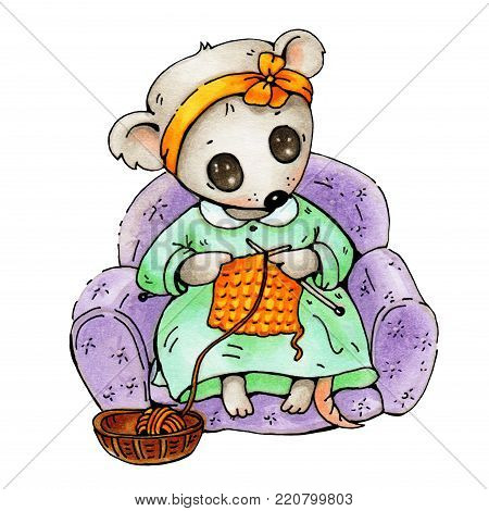 Illustration of funny cartoon mousy with knitting. Hand-drawn illustration.