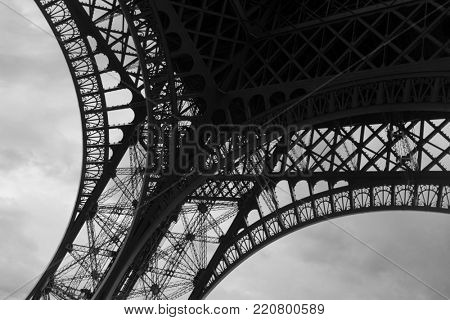Bland & White of the Eiffel tower at dawn in Paris France