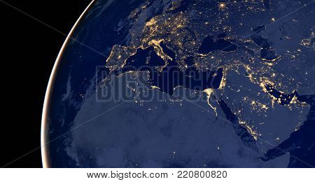 Middle east, west asia, east europe lights during night as it looks like from space. Elements of this image are furnished by NASA