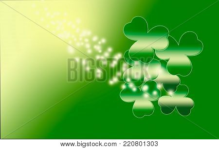Happy St. Patrick 's Day with shamrocks for background.