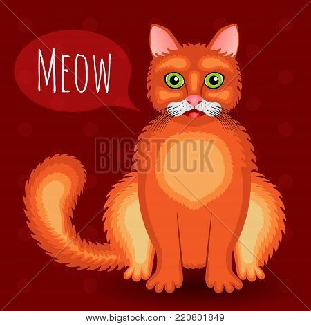 Meowing red cat sitting on a vinous background with polka dots. Vector illustration. poster