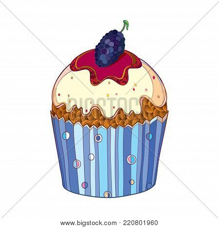 Vector outline cupcake with Mulberry or Morus ripe berry isolated on white background. Drawing of cake with mulberry in contour for summer, sweet food design menu or bakery.