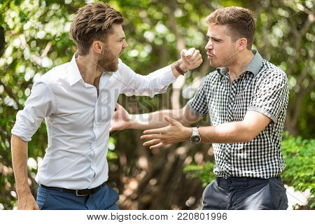 Two handsome and young furious men fighting with each other in the garden.