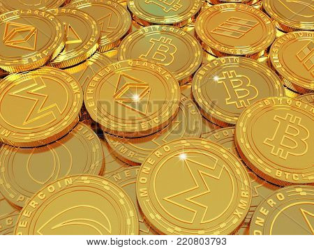 Crypto currency. The coin with the symbol. Metal coin. A large amount of crypto currency. 3d illustration.