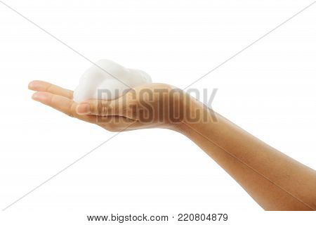 Female's hand with white foam isolated on white background, clipping path.