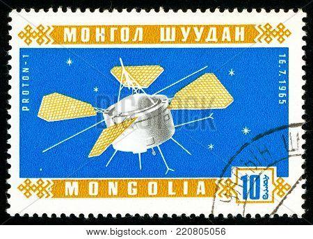 Ukraine - circa 2018: A postage stamp printed in Mongolia shows Soviet artificial Earth satellite Proton 1. Series: Space satellites. Circa 1966.