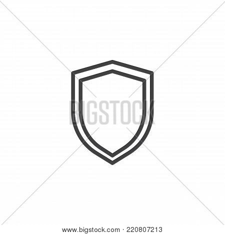 Shield protection line icon, outline vector sign, linear style pictogram isolated on white. Security shield symbol, logo illustration. Editable stroke