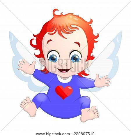 Vector illustration of a baby Cupid with a heart. Cartoon illustration of Cupid symbol on Valentine's day isolated on white