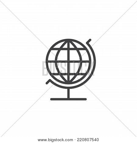 Geography globe line icon, outline vector sign, linear style pictogram isolated on white. Earth sphere symbol, logo illustration. Editable stroke