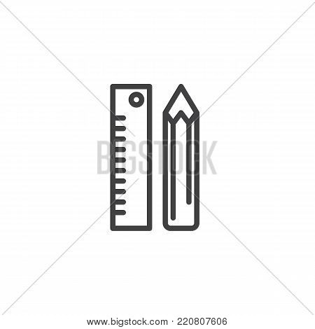Pencil and ruler stationery line icon, outline vector sign, linear style pictogram isolated on white. Stationery symbol, logo illustration. Editable stroke