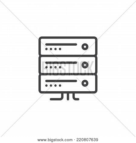 Computer server line icon, outline vector sign, linear style pictogram isolated on white. Server rack symbol, logo illustration. Editable stroke