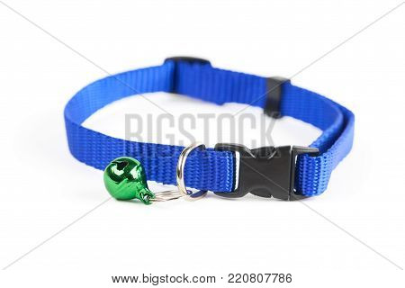 Blue pet's collar with blue bell isolated on white background