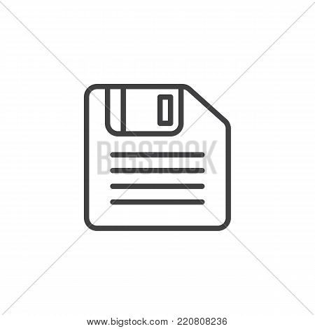 Floppy disk line icon, outline vector sign, linear style pictogram isolated on white. Diskette, Save symbol, logo illustration. Editable stroke