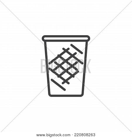 Trash can line icon, outline vector sign, linear style pictogram isolated on white. Dustbin symbol, logo illustration. Editable stroke
